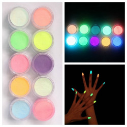 Glow In The Dark Negle Fluorescent Tatovering Akryl Pulver Dekoration