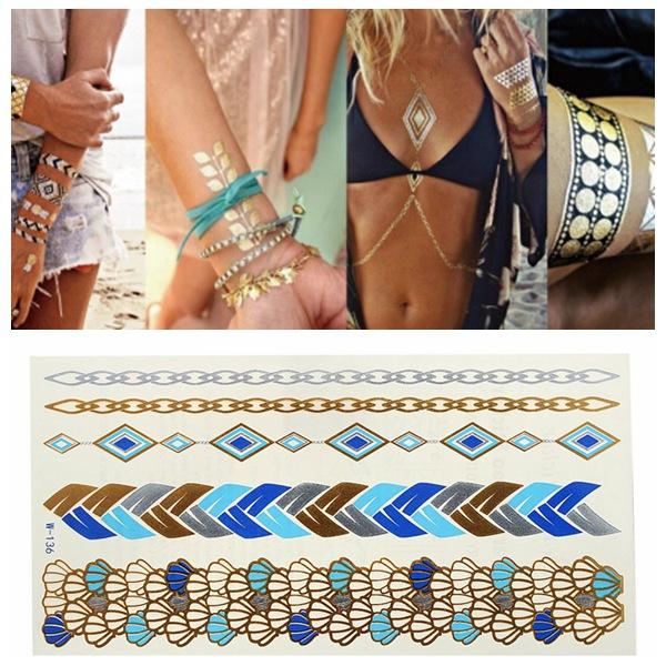 Guld Blue Chain Metallic Midlertidige Tatoveringer Body Art Sticker Tatoveringer