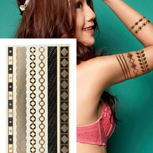 Guldkæde Metallic Midlertidig Tatoveringer Body Art Sticker Tatoveringer