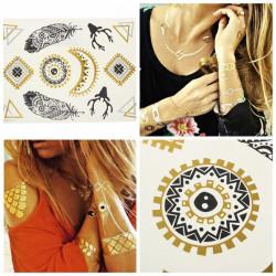Goldfeder Mond Sun Metallic Temporary Tattoos