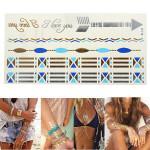 Guld Sølv Blå Chain Metallic Midlertidige Tatoveringer Body Art Sticker Tatoveringer