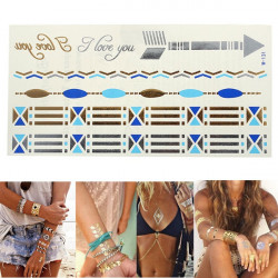 Gold Silver Blue Chain Metallic Temporary Tattoos Body Art Sticker