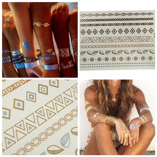 Guld Sølv Kæde Metallic Midlertidig Tatoveringer Body Art Sticker Tatoveringer