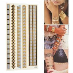 Guld Silver Metallic Stripe Formad Tillfälliga Tatueringar Body Art Klistermärke