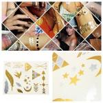 Guld Sølv Metallic Midlertidig Tatoveringer Body Art Sticker Tatoveringer