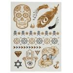 Golden Silver Skelett Metallic Body Art Tillfällig Tatuering Sticker Tatuering