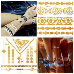 Metallic Temporary Egypt Necklace Chain Star Tattoo Sticker