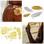 Metalliskt Tillfällig Guldkedja Fjäder Blomma Tatuering Klistermärken Tatuering