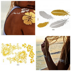 Metallic Temporary Gold Chain Feather Flower Tattoo Sticker