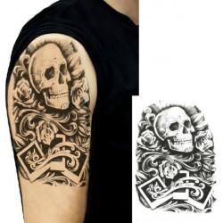 Skull Design Arm Shoulder Waterproof Temporary Transfer Tattoo Sticker