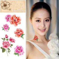 Tillfällig Roses Pioner Tatuering Transfer Body Art Klistermärke Vattentät