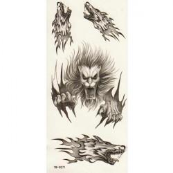 Wolf Totem Design Animal Vandtæt Midlertidig Tatovering Sticker Paper