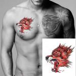 YCTF PRINTING Temporäre Red Wolf Kopf Tattoo Transfer Körper Kunst Aufkleber Tätowierungen & Körperkunst