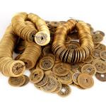 100 st Antik koppar kinesiska Qingdynastin Tur mynt