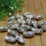 10Pcs Imitation Copper-made Silver Ingots Ornaments Good Fortune Collection Home Decor