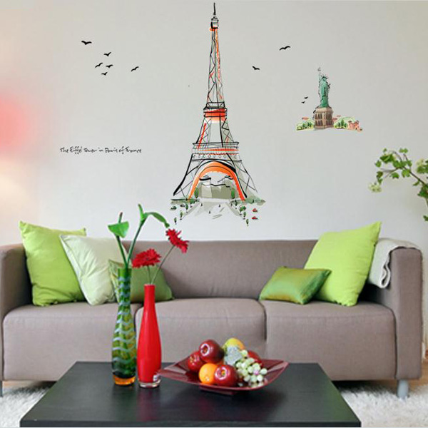 120*140 Eiffel Tower Hand-painted Wall Art Stickers Home Decor