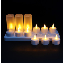 12 LED Night Genopladeligt Flammeloes Lys Light for Xmas Party