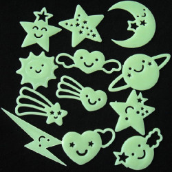 12PCS Smiling Star Fluorescence Wall Stickers
