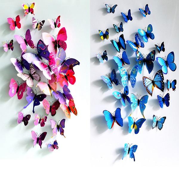 12Pcs 3D Butterfly Wall Sticker Fridge Magnet Home Decor Art Applique Home Decor