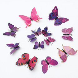 12Pcs 3D Butterfly Wall Stickers Fridge Magnet For Home Decoration