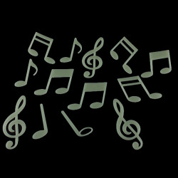 15 Music Symbol Fluorescent Glow in the Dark Wall Stickers