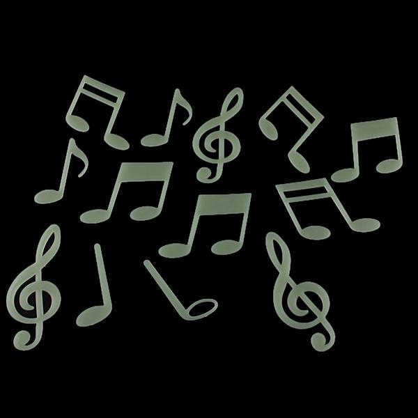 15 Music Symbol Fluorescent Glow in the Dark Wall Stickers Home Decor