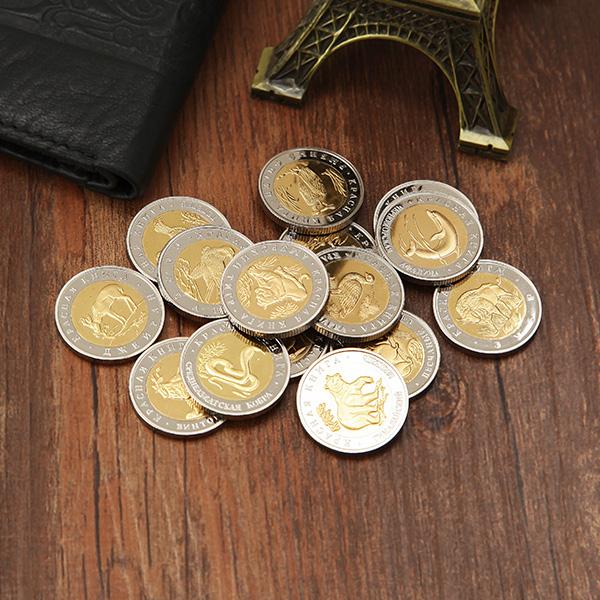 15st Ryssland Guld och Silver Djur Serie Minnes Kopiera Coin Samla Heminredning