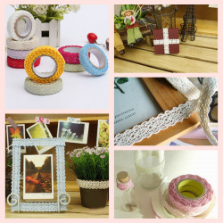 1.7M Bilateral Lace Fabric Tape Self Adhesive 9 Colors