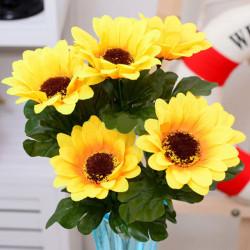 Ein Bündel 7 Köpfe Künstliche Sonnenblumen Blumenstrauß Heim Handwerk Dekor DIY
