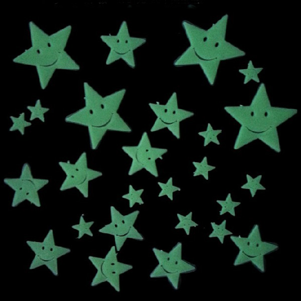 26PCS Smiling Star PVC Luminous Sticker Home Decor