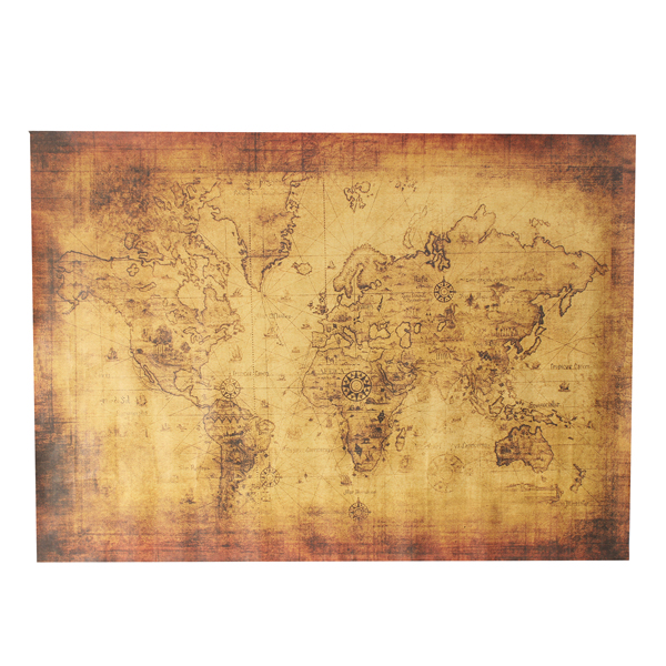 28x20 Inch Vintage Style Poster Antique World Map Treasure Map Home Decor