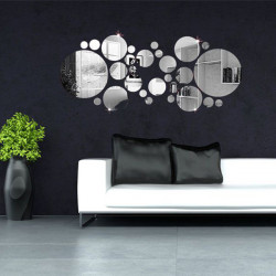 30stk 3D Kreis Spiegel Wandsticker Acryl Vinyl Aufkleber Home Art Decor