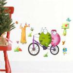 33 * 60CM Återanvändningsbar Bicycle Groda PVC Väggdekal TC1098 Heminredning