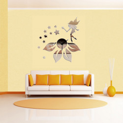 3D Clock Star Fairy Mirror Wall Sticker Home Decor
