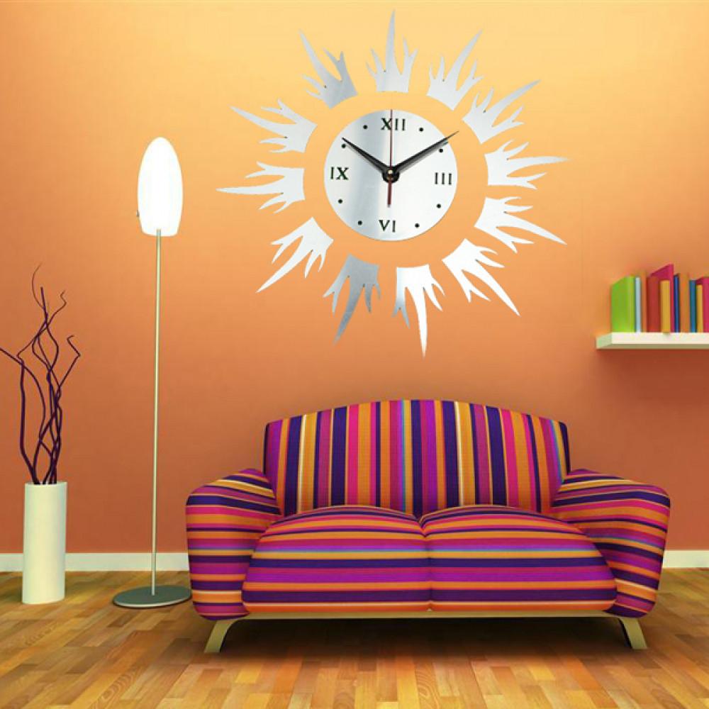 Buy 12D DIY Sun Shape Mirror Wall Clock Wall Stickers Modern Home ...
