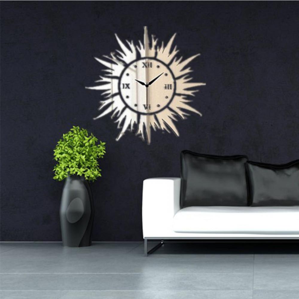 Buy 12D DIY Sun Shape Mirror Wall Clock Wall Stickers Modern ...