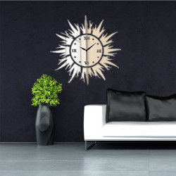 3D DIY Sun Shape Mirror Wall Clock Wall Stickers Modern Home Decor