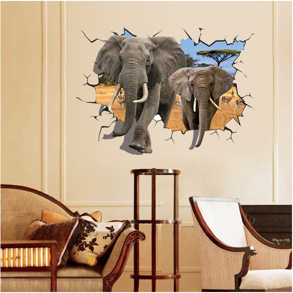 3D Elephant Removable Wall Stickers Animal Vinyl Home Decor Home Decor