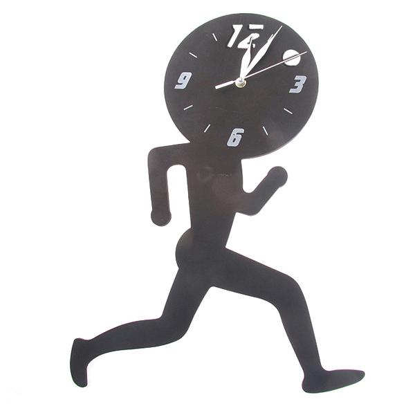 3D Hem Dekorativ Running Man Plast Väggklocka Heminredning