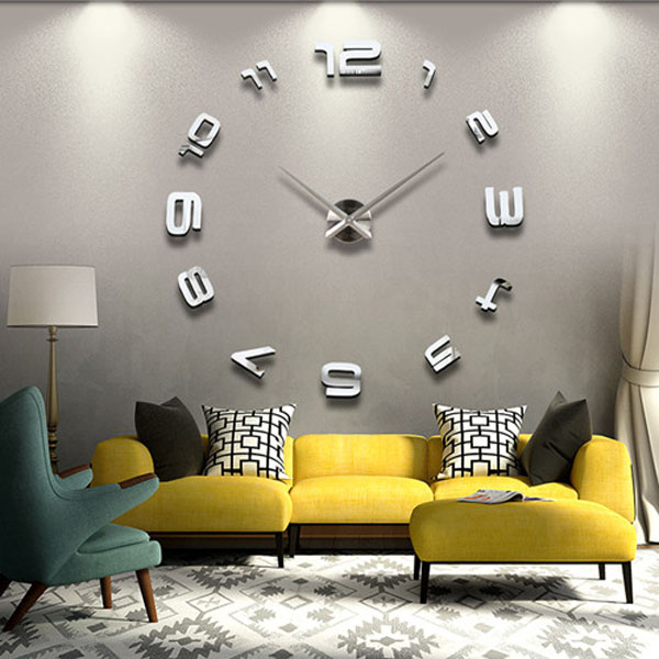 3D Large Sliver Modern DIY Home Decor Mirror Wall Clock Sticker Home Decor