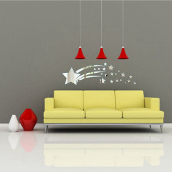 3D Meteor Star Mirror Sticker Modern Art Home Wall Decoration