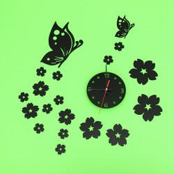 3D Spegel Väggklocka Heminredning Fjäril Plum Clock