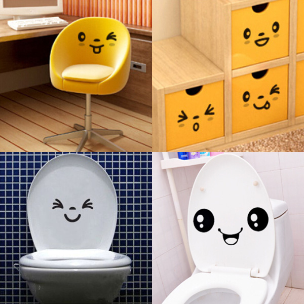3stk Sød Mural Toilet Expressions Decor Stickers Art Decal Boligudstyr