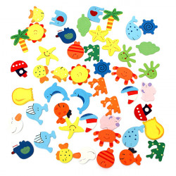 48Pcs Colorful Wooden Cartoon Refrigerator Magnets Home Decoration