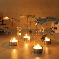 4 Stilar Spinning Rotary Metal Carousel Ljusstake Ställ Ljus