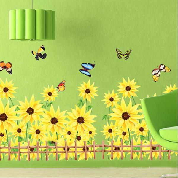 50 * 70cm Återanvändningsbar Sunflower PVC Väggdekal AY766A Heminredning