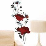 60*90CM Reuse Flower PVC Wall Sticker LD2035 Home Decor