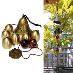 6 Bells Copper Clock Yard Garden Outdoor Living Amazing Wind Chimes