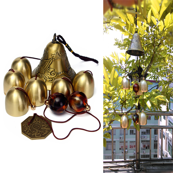 6 Bells Koppar Klocka Yard Trädgård Friluftsliv Fantastiska Wind Chimes Heminredning