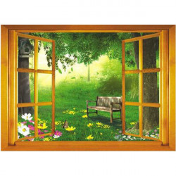 70*50CM Reuse Fake Window PVC Wall Sticker AY731